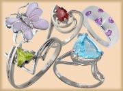 Кольца с полудрагоценными камнями